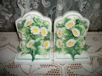ITALIAN CAPODIMONTE FLORAL DAISY BOOKENDS FRENCH FARMHOUSE HANDMADE VINTAGE