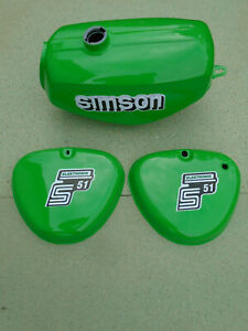 Tank Set S51 Saftgrün für Simson + versiegelt + Aufkleber Benzintank grün