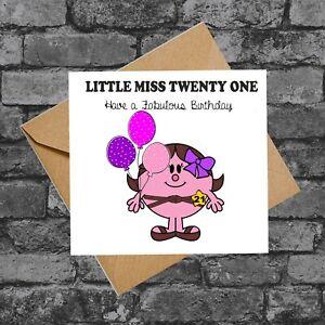 C262 LITTLE MISS TWENTY ONE CHEEKY FUNNY 21ST BIRTHDAY CARD FRIEND DAUGHTER