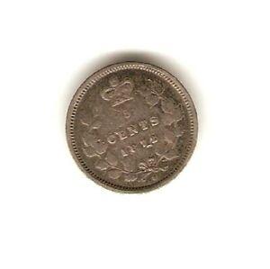 1872 CANADA SILVER Coin 5 CENT - QUEEN VICTORIA -