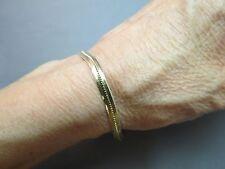 "14k Yellow Gold Bracelet 4.69g Marked Italy 3.7mm Chain 7.25"" Flat Herringbone"