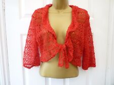 STYLE BY EWM Ladies Size M 12 - 14 Red Crochet Sequin 3/4 Sleeve Party Shrug Top