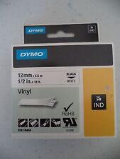 "DYMO INDUSTRIAL RHINO VINYL P/N 18444 12MM 1/2"" X 18FT BLACK WHITE 071701000415"