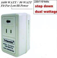 Foreign Travel Voltage Converter Slide S/W 50/1875W, 220V To110V Power Adapter