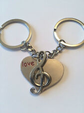 MUSIC LOVERS PRESENT-LOVE HEART MUSIC NOTE KEYRING - LOVE & NOTE KEYRING