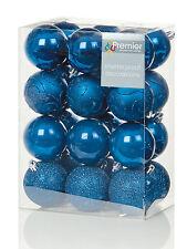24 X Grande Azul Medianoche Bolas 6cm Adornos para Árbol de Navidad Mezclado