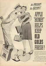 1944 WW II. era  AD OLD GOLD Cigarettes Cute Art Sailor and his girl 062116