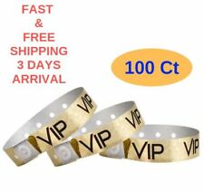 100 Pack Wristbands Holographic Gold Vip Plastic Wristbands for party, Events