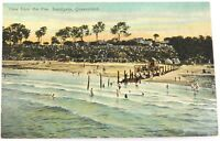 """c1910 SANDGATE QLD, """"VIEW FROM THE PIER"""" COLOUR POSTCARD. COLOURED SHELL SERIES."""