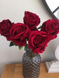 Artificial Velvet Flowers 5 Single Long Stem Roses Rich Red  Luxury