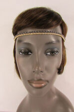 Women Girl Gold Gunmetal Mesh Metal Head Band Chain Fashion Jewelry Elastic Band