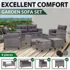 vidaXL Garden Sofa Set with Cushions 6 Piece Seat Poly Rattan Multi Colours