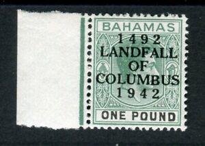 Bahamas KGVI 1942 Columbus £1 grey-green & black SG75a MNH