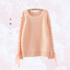 CutieK Liz Lisa style gyaru mori peach pink pastel ribbon plait knit sweater 10