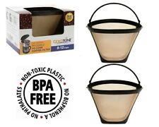 (2) GoldTone Reusable 8-12 Cup #4 Cone Coffee Filter fits Cuisinart