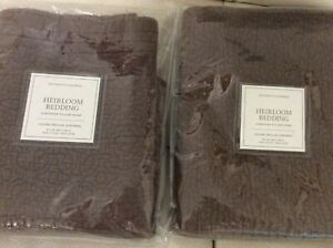 Restoration Hardware Two (2) Heirloom Quilted Euro Shams Sable Brown NWT! 26x26