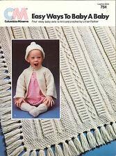 3 Vintage BABY Knit & Crochet Leaflets - Baby Set Patterns - Afghan Patterns