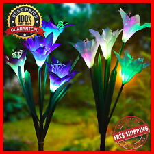 Lily Flower Solar Light LED Decorative Outdoor Lawn Garden Night Lamps For Home