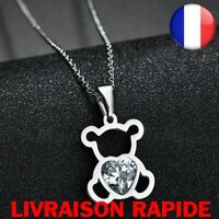 Collier Chaine Ours Ourson Nounours Acier inoxydable Animal Femme Fille Bijoux