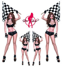 Set ADESIVI RACE FLAG pin up girl sexy vittoria bandiera Corsa Adesivo Set 15x5 cm