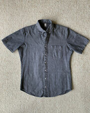 american apparel chambray size m button down short sleeve bluish-gray