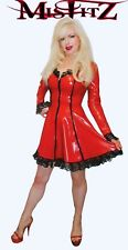 Misfitz red latex and lace frilly  skater dress. Sizes 8-32/made to measure TV