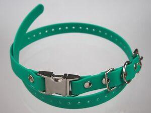 "Green 3/4"" Biothane Dog Metal Quick Snap Buckle Remote Trainer E Collar Strap"