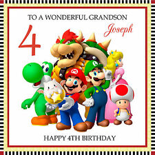 Super Mario Bros Personalised Handmade Birthday Card any text /age