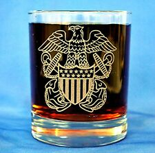 US Navy Officer Badge custom etched on Double Old Fashion set of 4