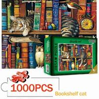 Puzzle 1000 Pieces Jigsaw Puzzles For Adult Cat On Educational Bookshelf Funny