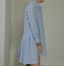 New Stella McCartney 36 S Cotton Poplin Shirt Dress Blue Pink Short Stripped