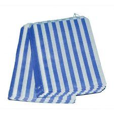 """200 X Blu & Bianco A Strisce Caramelle 5 x 7"""" sacchetti di carta Dolci Bomboniere"""