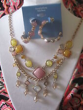SIMPLY VERA WANG NWT $66 gold tone women's necklace & matching earrings set