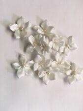 "36 white satin daisy flower pearl bead applique 3/4"" bridal or doll Us Shipper"