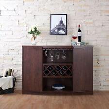 NEW Walnut Dry Bar Storage Holds 7 Bottles Wine Rack Liquor Cabinet Top Buffet
