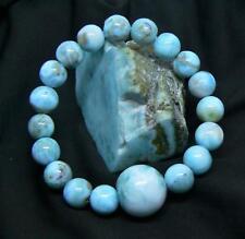 CARIBBEAN BLUE LARIMAR BEADS STRETCH BRACELET PERFECT ROUND AAA NATURAL GEMSTONE