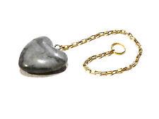 Pendule jaspe gris bleu poli par la mer pierre naturelle coeur radiesthésie