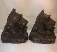 Vtg PAIR 1930-40's Burwood Scottish Terrier Scotty Airedale Dog Bookends
