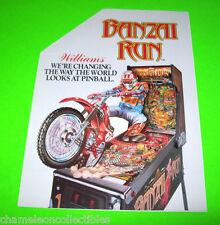 Williams BANZAI RUN 1988 Original NOS Pinball Machine Promo Sales Flyer Brochure