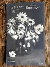Early 1900's Black & White Floral Bouquet Birthday Post Card - Rotograph Co.