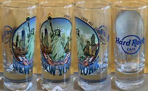 "Hard Rock Cafe NEW YORK 2017 City Tee Shirt 4"" SHOT GLASS Cordial GLASSWARE V17"