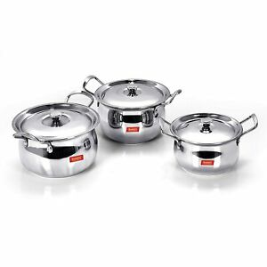 Stainless Steel Handi With Lid, 1.1 Ltr, 1.6 Ltr, 2.1 L, 3 Piece (Steel)