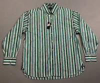 NWT Men's Tommy Hilfiger Green Blue White Striped Button Front Shirt Sz XL 2 Ply