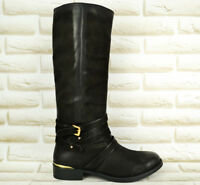 SPM Black Leather Womens Mid-Calf Boots Zipped Heeled Casual Shoes 5 UK 38 EU