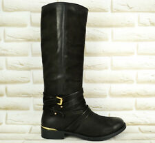 SPM Black Leather Womens Mid-Calf Boots Zipped Heeled Casual Shoes 4 UK 37 EU