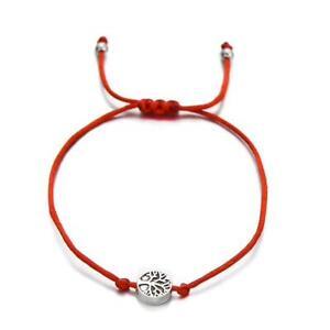 Tree of Life Friendship Bracelet, Red Chord, Adjustable Size