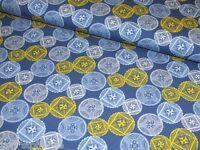 Jerseystoff Kreise blau gelb Retro Damenstoff Meterware Baumwoll Jersey  8 Meter