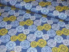 Jerseystoff Kreise blau gelb Retro Damenstoff Meterware Baumwoll Jersey