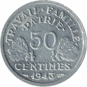 FRANCE 50 CENTIMES BAZOR 1943 SUP