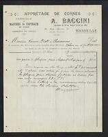 """MARSEILLE (13) USINE de MANCHES à COUTEAUX """"GUIOL / A. BACCINI Succ"""" en 1907"""